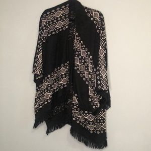 Black and white shawl with fringe